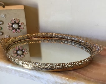 Vintage Vanity Mirror Tray, Gold Oval Dresser Tray