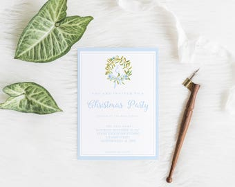 Christmas Party Invitation, Watercolor Blue Christmas Invite, Watercolor Holiday Party, Holiday Dinner, Christmas Dinner, Digital Invitation