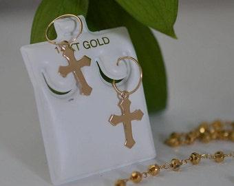 Hoop cross earring 14Kt,Hoop cross earrings 14KT,Gold cross earring,Hoop earring cross,14k rockstar hoop, Hoop jewelry,Street style hoop.