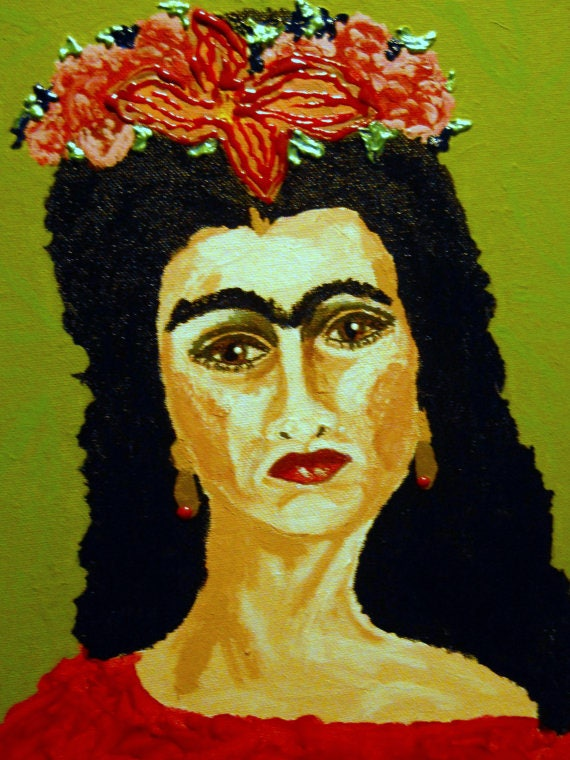Framed Acrylic Painting JUST FRIDA, Outsider Folk Art Frida Kahlo Portrait 14x11 canvas panel Indiana Artist Stacey Torres 2014