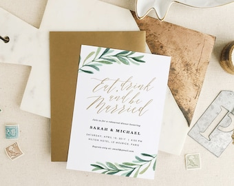 Greenery Rehearsal Dinner Invitation, Eat Drink and Be Married, Rehearsal Dinner, Edit in Word or Pages
