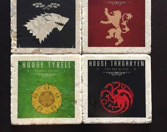Game of Thrones Coasters - Game of Thrones House Crests - Tumbled Tile - Stark - Lannister - Tyrell - Targaryen - Set of 4