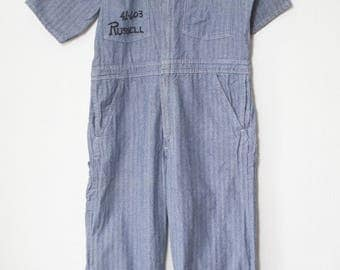Vintage Engineer Stripe Cotton Universal Coveralls Mens 42 / Vintage Overalls Made in USA / Blue and White Boiler suit Tall Workwear Chore