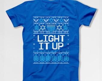 Funny Hanukkah Gifts For Her Ugly Hanukkah T Shirt Holiday Presents For Him Hanukkah Menorah Shirt Holiday Outfit Jewish Clothing TEP-611