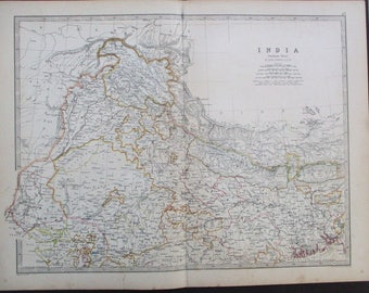 North india map etsy 1872 northern india antique map gulf of cutch mouth of ganges to kashmir gumiabroncs Gallery