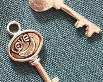 Set of 2 silver plated key charm