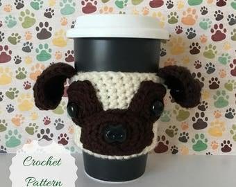 Pug Crochet Pattern - Pug Pattern - Crochet Pug - Amigurumi Dog - Crochet Pattern Dog - Crochet Pattern - Dog Amigurumi - Mug Cozy Pattern