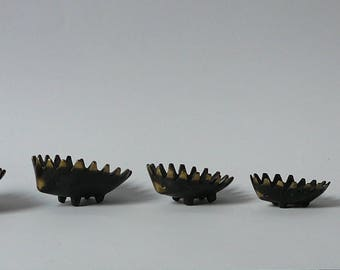 Walter Bosse Hedgehog Ashtray 6pcs Brass Austria