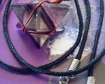 Puprle FLUORITE  MERKABA Star Pendant with Copper Wrap, Sacred Geometry Necklace, With Hemp Chain
