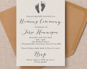 Personalised Footprints and Rustic Calligraphy Naming Ceremony Invitation Cards
