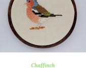 Cross stitch bird. Chaffinch cross stitch pattern. Chaffinch pattern. Chaffinch chart. Bird pattern. Bird chart. PDF instant download.