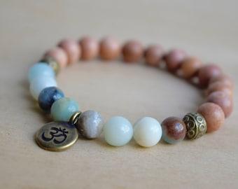 Amazonite Bracelet / Om Charm Bracelet / Unique Gift Idea / Birthday Gift for Her / Boho Jewelry / Yoga Bracelet / Meditation Bracelet