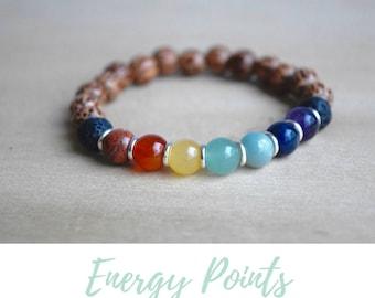 Meditation Bracelets / calming bracelet, 7 chakras, best yoga gifts, gift for yoga mom, good vibes, layering bracelet, emotional support
