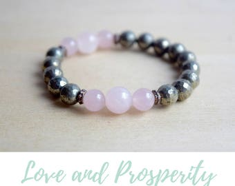 Energy Bracelet / yoga gift for mom, rose quartz bracelet, bestfriend gifts, thinking of you gift, bracelets everyday, pyrite bracelet