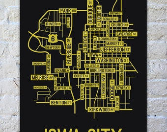 Iowa City, Iowa Street Map Screen Print - College Town Map