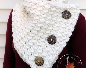 Chunky Crochet Scarf, Chunky Cowl, Three Button Scarf, BELMONT COWL, Boston Harbor Style Scarf, 3 Button Cowl, Crochet Button Cowl, Oversize
