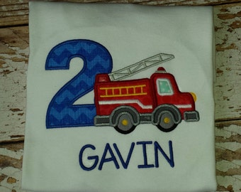 Birthday Fire Truck Tee - Boys - Boutique - Personalized - Embroidered - Party - Photos