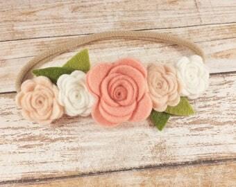 Felt Rose Flower Crown Nylon Headband - CHOOSE ANY COLORS, 40+ Colors / Felt Flower Headband / Felt Rose Crown / Felt Flower Crown Headband