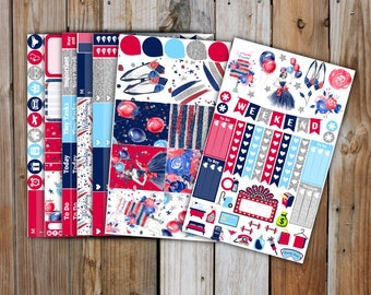 4th of July Planner Sticker DELUXE KIT | Summer Planner Stickers Kit for use with Erin Condren Life Planner