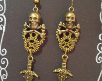 Antique Bronze Skull & Dagger Steampunk Inspired earrings