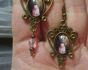Little Girl Mouse; Steampunk Inspired Earrings; SP711