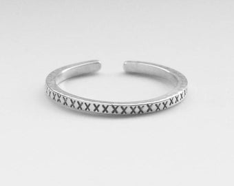 Ring 1 day silver 925, hammered, liqueur brandy, empilable and adjustable