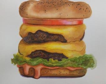 Food Illustration Burger Painting Cheeseburger Hamburger Watercolor Junk Food Fast Food 8x10 Kitchen Wall Art Original Watercolour