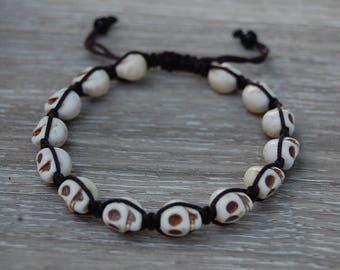 Skull Bracelet,Skull Gemstone Bracelet,Skull Shamballa Bracelet,Man Woman,Pray,Good Luck,Yoga,Protection,Boho,,Meditation,Shamballa