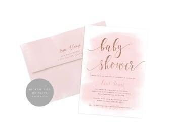 Pink Rose Gold Baby Shower Invitation, Blush Baby Shower, Printable Baby Shower Invitation, Watercolor Baby Shower Invite, Gold Foil Baby