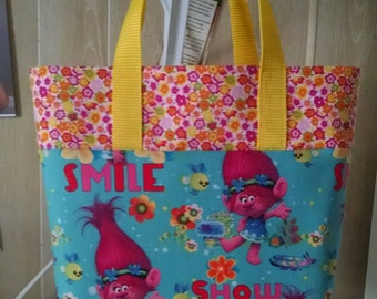 Girls Trolls  Tote Bag Library Bag Ladies Tote Preschool Bag