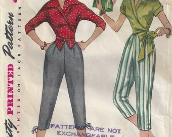 1950s Pedal Pushers/Capris High Waist Side Zipper Wrap Blouse Waist Ties/Buttons 3/4 Kimono Sleeves Simplicity 4255 Size 16 Bust 34 Hip 37