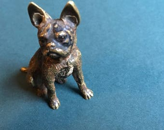 Cold Painted Austrian/Viennese Cold Painted Bronze French Bulldog from the Early 1900's