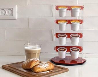 Keurig Storage Carousel Dispenser, K Cup Holder, Coffee Pod Organizer Rotate Storage Unit, Home Gift, Modern Design, Plexiglas Décor Display