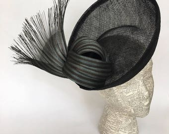Black sinamay saucer fascinator with jinsin bow