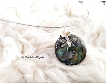 Choker 'Esmeralda': Labradorite round, findings and pendants Silver 925/1000, stainless steel Choker