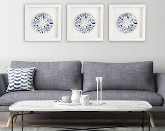 "Blue Wall Art, Framed Art, Modern Blue Decor, Shadow Box Frame, Abstract Art, ""Precious Blue"" – **MADE TO ORDER Set of Three – 42cm"