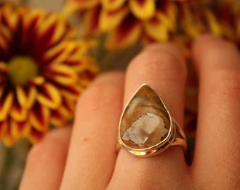 Rainforest Opal Ring Sterling Silver Boulder White Statement Tear Drop Rare Brown Gift Statement Unique Modernist 1970s 70s Size 7 1/2 P