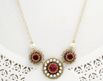 Romantic Red Crystal & Pearl Floral Gold Necklace for her