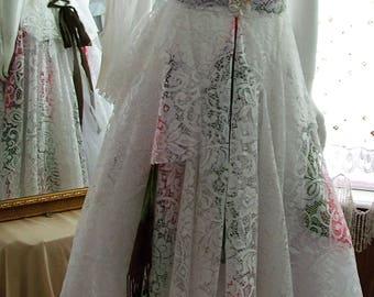Unique boho alternate wedding dress shabby cottage tattered ragged dress. Size 4 - 8. White brown pink green