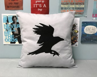 Raven - Grey Cushion Pillow Cover Black Rook Bird Unique Design Gothic Halloween Crow 14 16 18 20 22 24 inch size Small Large