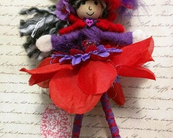 Handmade Red Hat Society Doll Red Hat Doll Red Hatter with Silver Gray hair