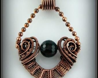 Esmeralda Ball Chain Pendant, Copper Pendant, Copper Wire Woven Pendant, Wire Wrapped Stone Pendant, Copper Jewelry, Bloodstone Pendant