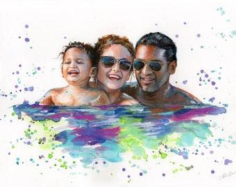 Family Portrait, custom family portrait handpainted from photo, handmade fun painting childrens portrait