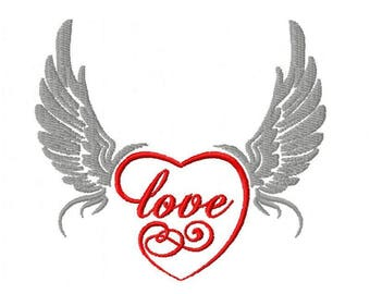 Embroidery design of a heart with wings 4 x 4 size