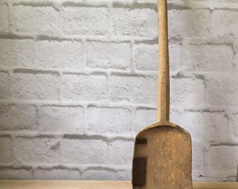antique long wooden farm shovel for feed or grain, make do iron repair, vintage new england, one of a kind modern farmhouse restaurant decor