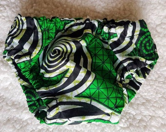 Baby Nappy Cover African Print Green Black White (0-3mths, 3-6mths, 6-12mths)