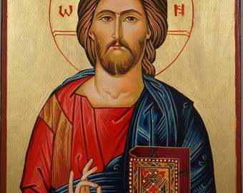 Jesus Christ Pantocrator Closed Book Hand-Painted Byzantine Orthodox Icon on Wood 30cm x 20cm