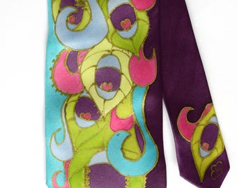 Peacock necktie in turquoise and purple, peacock wedding tie