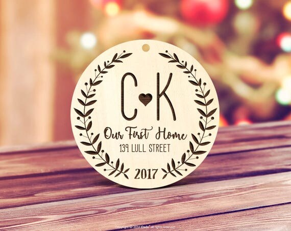 Our first Home Ornament, Wood Our First Home Christmas Tag Ornament New House Gift, Our First Home Ornament Present Monogram Wood Tag 29