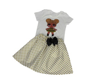 LOL Dolls girl  Birthday Outfit LOL girl  Personalized dress  LOL Queen bee girl outfits Girl Lol Dolls Birthday Shirt skirt Lol Dolls